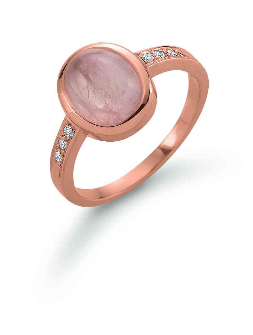41 6207 060 | Ring Rotgold mit Rosaquarz und Brill. 0,06ct
