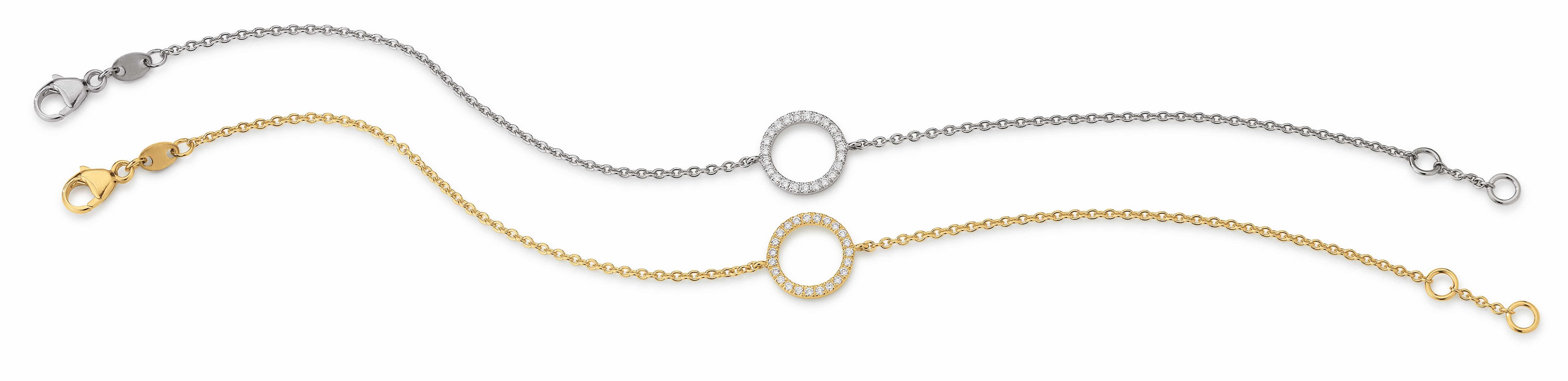 41 6525 071 | Armband/ Kleiner Ring 10mm/ 0,12ct | Lieferbar in den Legierungen 14kt und 18kt in Gelb / Weiß / Rotgold. Farbkombinationen (z.B. Kette Weiß / Ring Rot o. ä. möglich!)