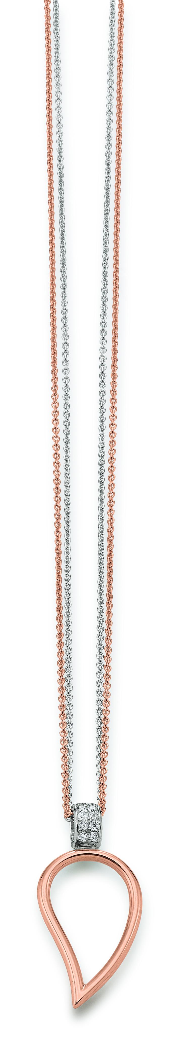 DoppelKette Weiß Rose 585 | 750 Anhänger Weiß Rose 585 | 750 mit Brillanten