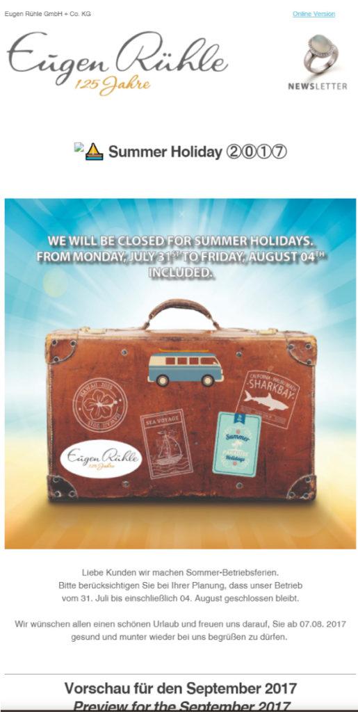 Eugen-Rühle-Newsletter-Summer-Holiday