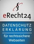 eRecht 24 Siegel Datenschutzerklärung blau